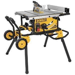 DEWALT DWE7499GD portable table saw with rolling stand