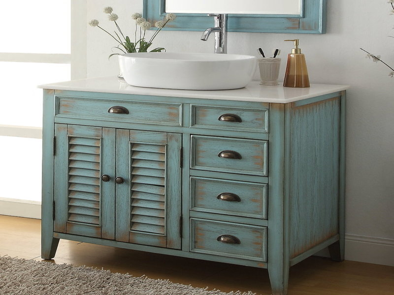 Distressed beach rustic style single vanity