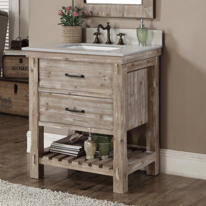 Lovely Rustic Bathroom Vanity With Matching Mirror