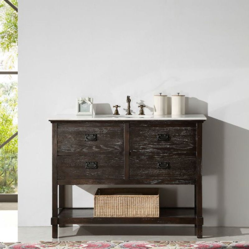 Rustic brown washed single sink vanity