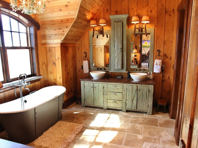 17 Amazing Rustic Bathroom Vanity Ideas - ProToolZone on Rustic Farmhouse Bathroom  id=11656