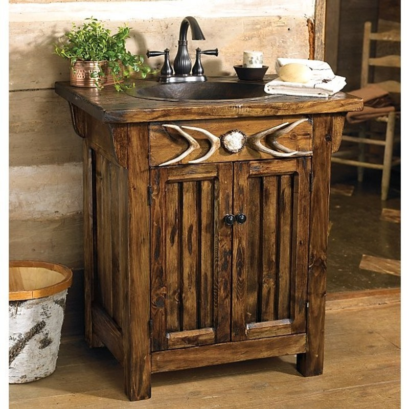 antler single sink rustic vanity