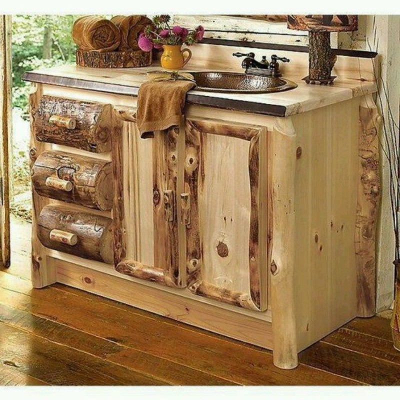 Awesome cabin log rustic style bathroom vanity