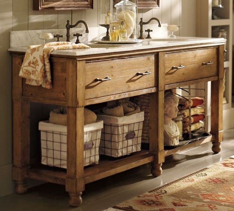 Rustic Country style double bathroom vanity sink