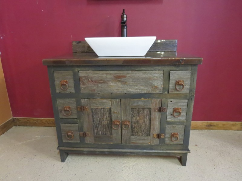 Reclaimed rustic wood bathroom vanity
