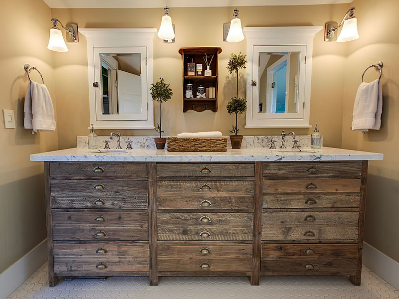 Rustic Barnwood Bathroom Double Sink Vanity Ideas