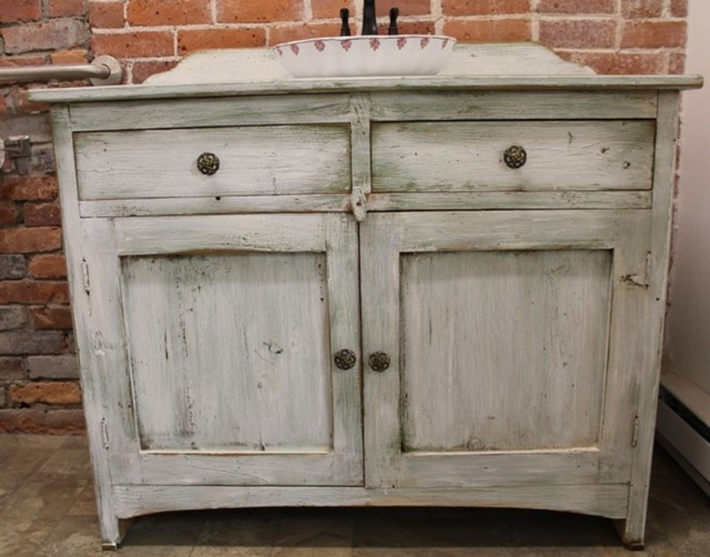 Rustic antique white washed bathroom vanity ideas