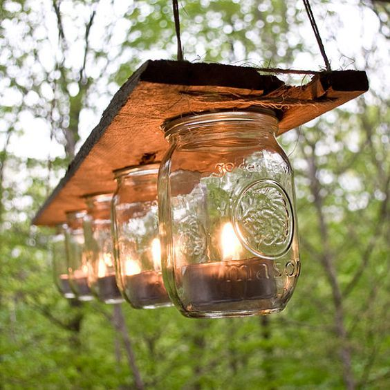 rustic outdoor mason jar lighting ideas