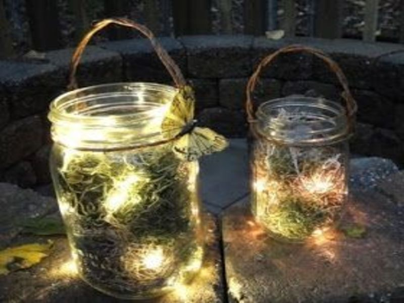 mason jar lighting with fairies