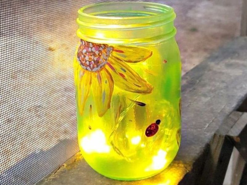 Painted mason jar lighting