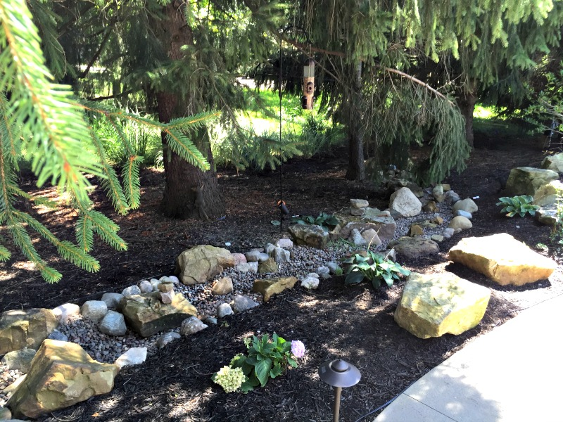 Simplistic dry creek bed for small areas