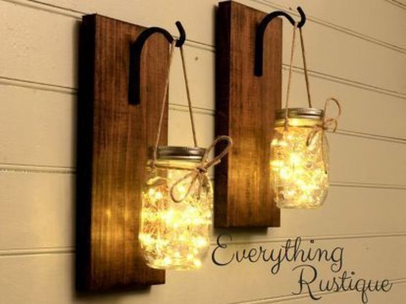 rustic mason jar lighting look