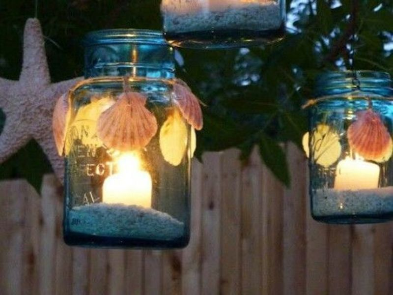beach style mason jar lighting