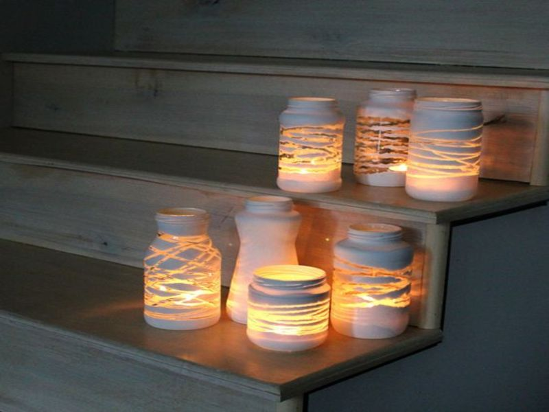 twine wrapped mason jar lighting idea