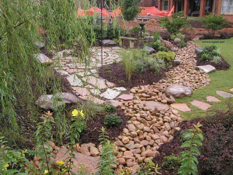 Zen styled dry creek bed
